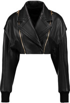 Balmain Cropped leather jacket