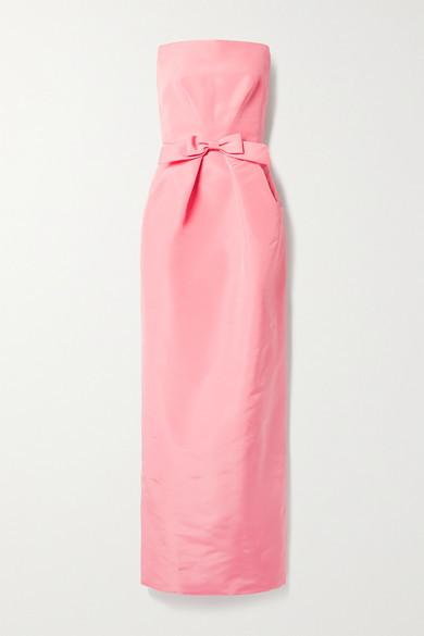 Oscar de la Renta Strapless Bow-embellished Silk-faille Gown - Baby pink