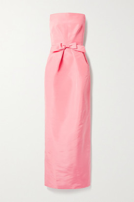 Oscar de la Renta Strapless Bow-embellished Silk-faille Gown - Baby pink
