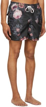 Bather Black & Multicolor Floral Ripple Swim Shorts