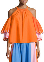 Peter Pilotto Embroidered Cold-Shoulder Trapeze Blouse