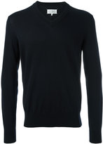Maison Margiela v-neck elbow patch jumper - men - Cotton - S