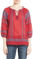 Joie Women's Gauge Embroidered Peasant Top