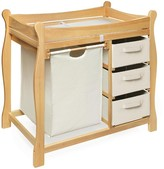 The Well Appointed House Natural Sleigh Style Changing Table with Hamper and 3 Baskets