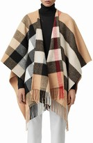 Burberry Check Wool & Cashmere Fringe Cape