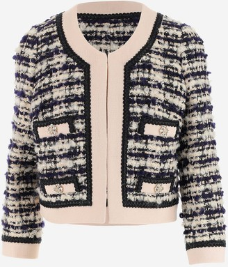 Edward Achour Tweed Jacket with Crystals Button