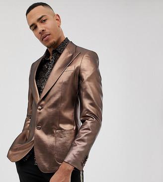 Asos DESIGN Tall skinny 70s metallic copper prom blazer