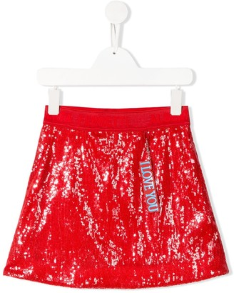Alberta Ferretti Kids I Love You sequin skirt