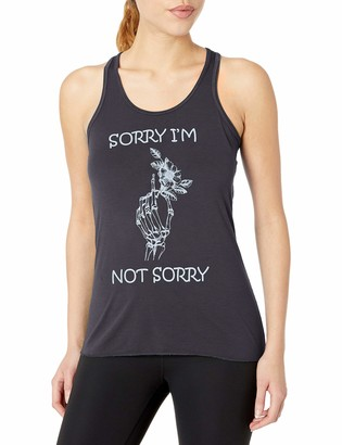 Clementine Apparel Clementine Women's Ladies' Hand Bones with Sorry Quote Printed Flowy Racerback Tank