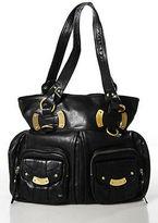 B. Makowsky Black Leather Gold Accent Large Shoulder Handbag