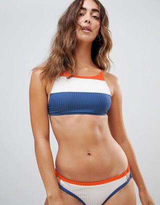 RVCA July Colour Block Crop Bikini Top-Multi