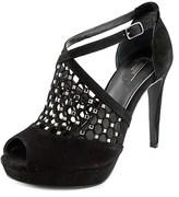 Alfani Caelen Women Open Toe Leather Black Platform Heel.