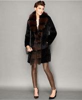 The Fur Vault Fox-Trim Knitted Mink Fur Coat