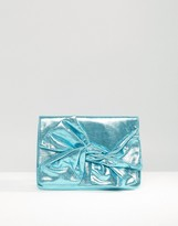Asos Metallic Soft Bow Clutch Bag