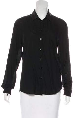 Boy By Band Of Outsiders Leather-Trimmed Button-Up Top