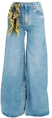 Off-White High-Rise Scarf Wide Leg Jeans