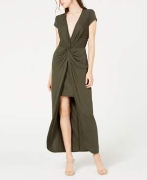 City Studios Juniors' Twist-Front High-Low Maxi Dress