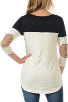 Magic Fit Black Color Block Sleeve Elbow Patch Tee