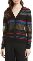 Diane von Furstenberg Women's Stripe V-Neck Cardigan