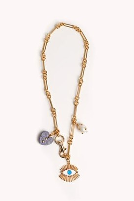 Rebecca Minkoff Evil Eye Charm Necklace With Signature Dog Clip Clasp