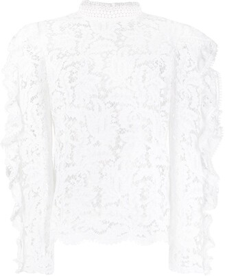 Isabel Marant Floral-Lace Ruffle-Sleeve Blouse