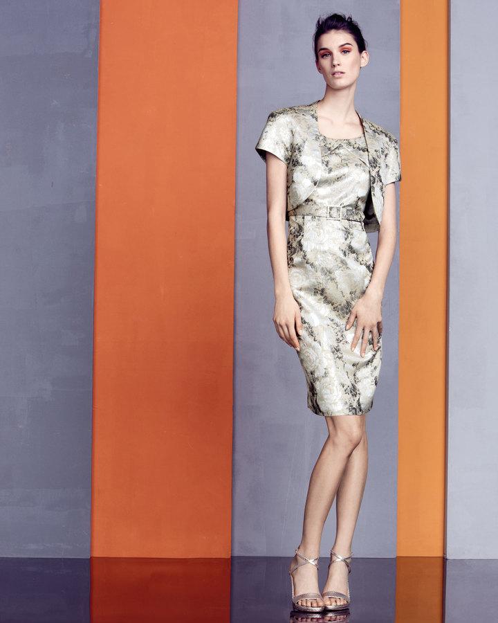 Albert Nipon Floral-Jacquard Dress with Bolero
