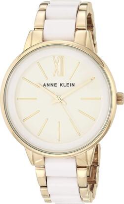 Anne Klein Women's AK/1412IVGB Gold-Tone and Ivory Resin Bracelet Watch