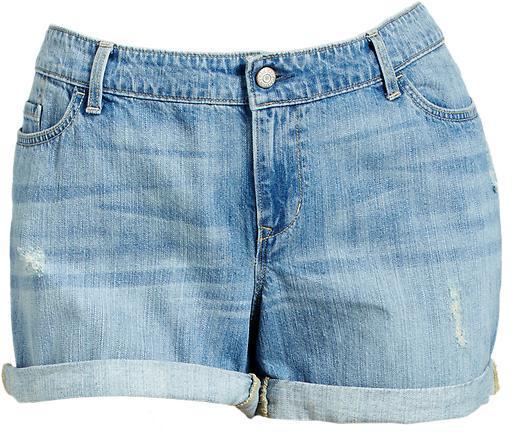 "Old Navy Women's Plus Distressed Midi-Denim Shorts (4"")"