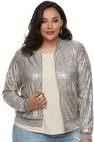 JLO by Jennifer Lopez Plus Size Print Beaded Crepe Top