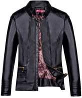 iLory Women Zipper Collar Leather Jacket Biker Jacket Casual Coat Plus