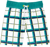 Crazy 8 White & Turquoise Plaid Boardshorts - Infant & Toddler