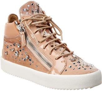 Giuseppe Zanotti Velvet & Leather High-Top Sneaker