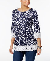 Charter Club Petite Printed Cotton Crochet-Trim Top, Only at Macy's