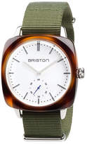 Briston Clubmaster Vintage Chronograph Watch, Green/Brown