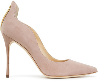 Sergio Rossi Cutout Embellished Suede Pumps