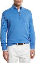 Peter Millar Cotton/Cashmere Quarter-Zip Pullover Sweater, Blue