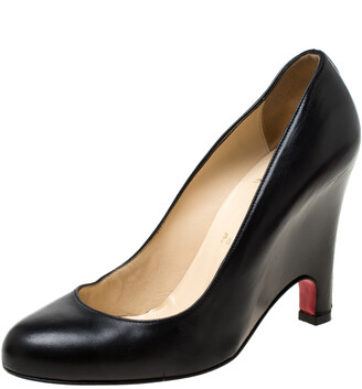 Christian Louboutin Black Leather Wedge Pumps Size 38