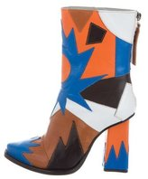 MSGM Leather Patch Work Ankle Boots