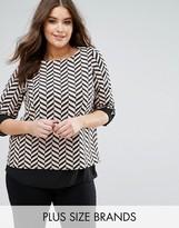 Koko Long Sleeve Double Layer Contrast Zig Zag Top