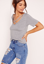 Missguided V Neck Cross Strap Front T Shirt Grey