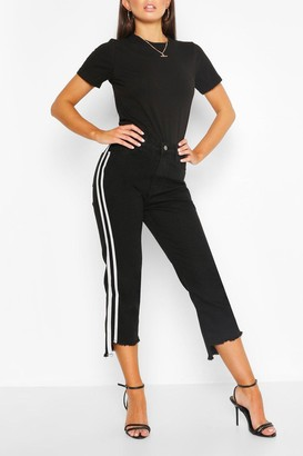 boohoo Side Stripe Fray Hem Skiny Jean