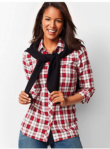 Thumbnail for your product : Talbots Classic Cotton Shirt - Holiday Plaid