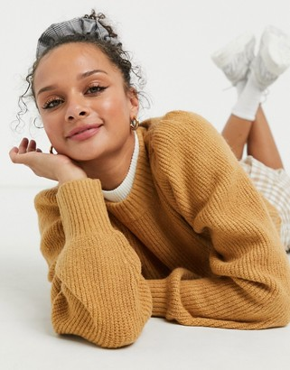 Monki Qamelia knitted sweater with volume sleeve in beige
