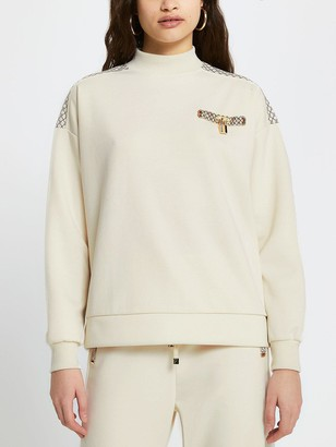River Island Monogram Trim High Neck Sweater - Cream