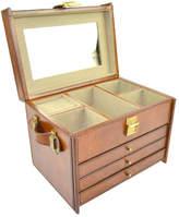 4 Rack Genuine Leather Jewellery Box Colour: Tan