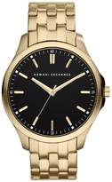 Armani Exchange Black Dial And Gold IP Plated Bracelet Mens Watch
