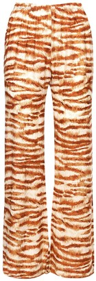 Cult Gaia Printed Viscose & Silk Satin Pants