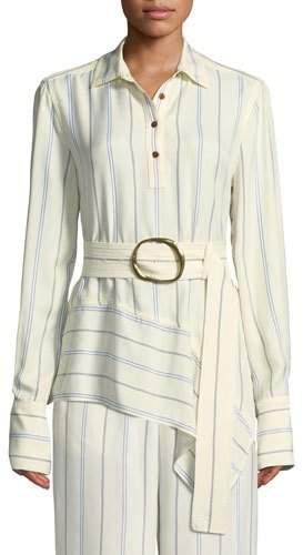 Derek Lam 10 Crosby Long-Sleeve Belted Asymmetric Shirt