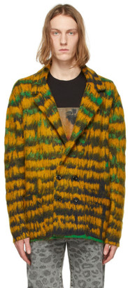 Saint Laurent Yellow and Green Abstract-Feather Double-Breasted Cardigan