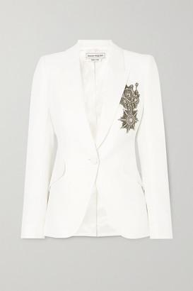 Alexander McQueen Embellished Crepe Blazer - White